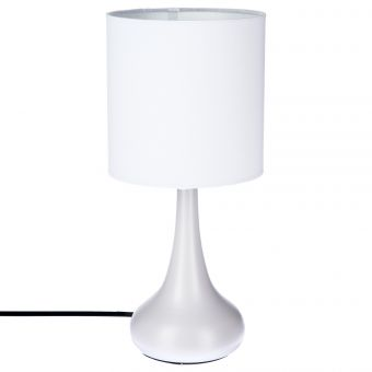 LAMPE TOUCH MET. BLANC H33CM