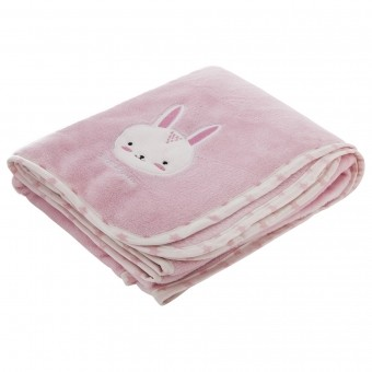 PLAID LAPIN BRODERIE 100X150