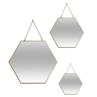 03 MIROIRS HEXA METAL CHAINE OR