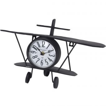 HORLOGE AVION METAL NOIR